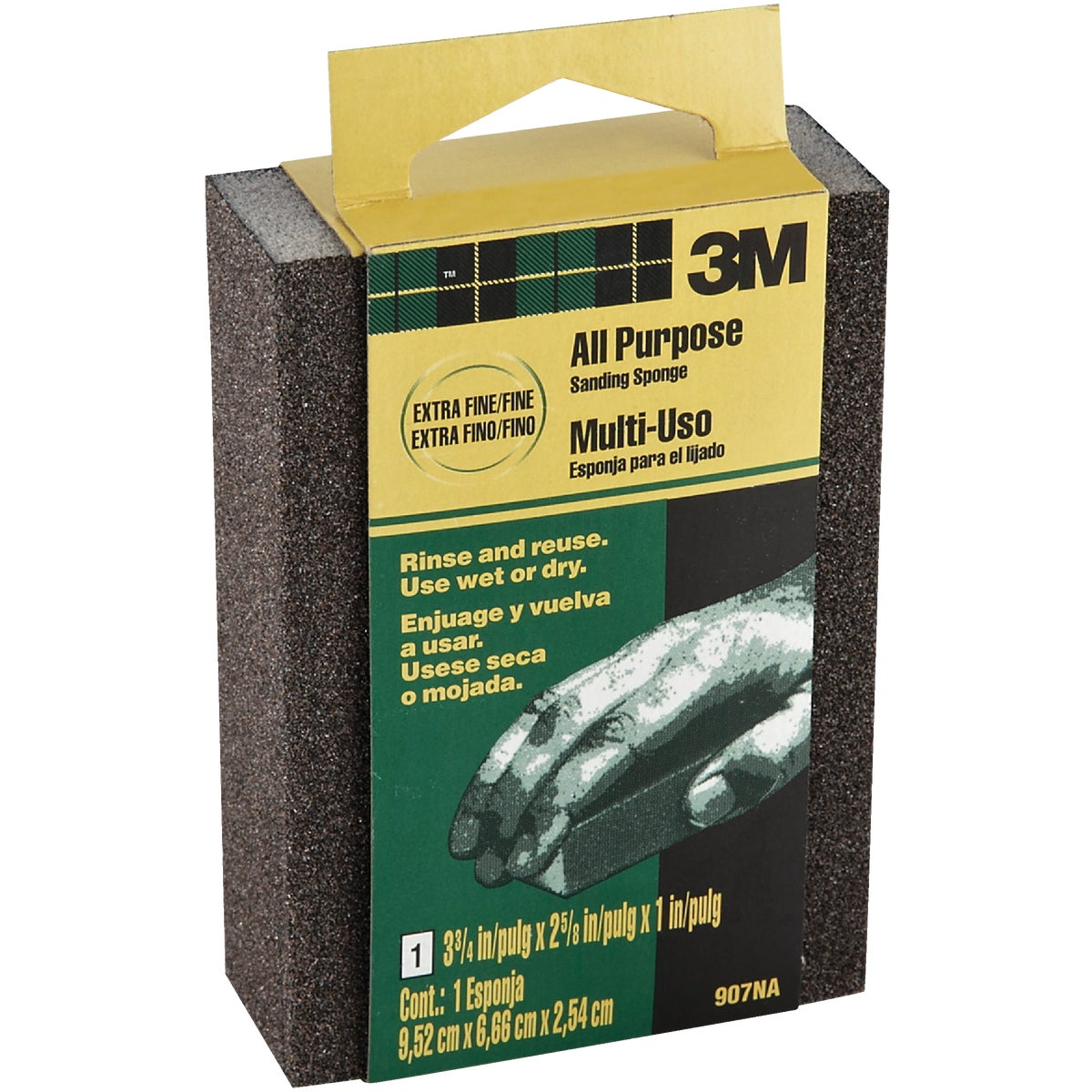 3M All-Purpose 2-5/8 In. x 3-3/4 In. x 1 In. Extra Fine/Fine Sanding Sponge