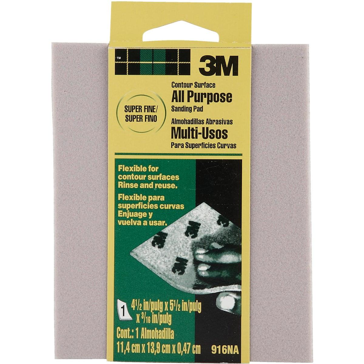 3M Contour Surface All-Purpose 4-1/2 In. x 5-1/2 In. x 3/16 In. Super Fine Sanding Sponge
