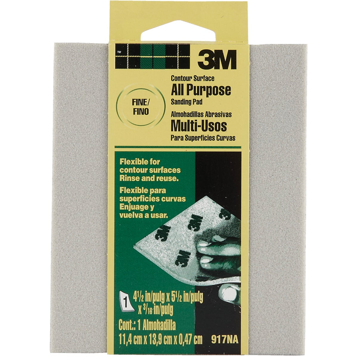 3M Contour Surface All-Purpose 4-1/2 In. x 5-1/2 In. x 3/16 In. Fine Sanding Sponge