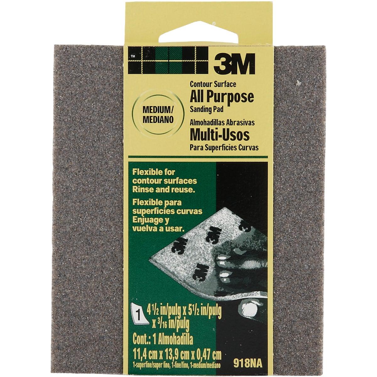 3M Contour Surface All-Purpose 4-1/2 In. x 5-1/2 In. x 3/16 In. Medium Sanding Sponge