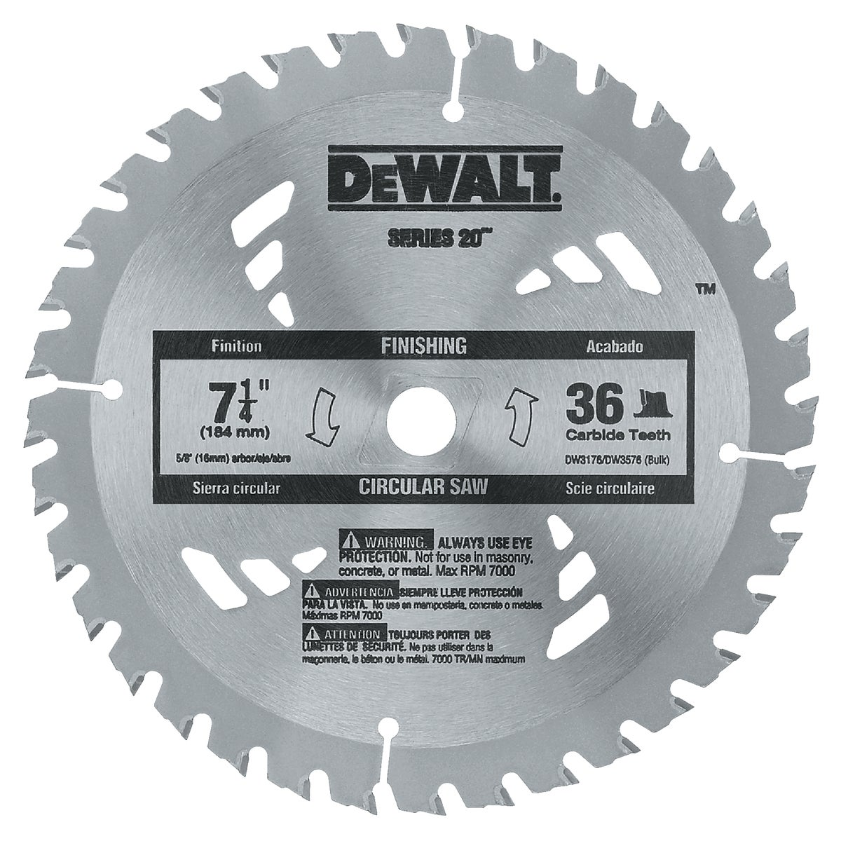 "7-1/4"" 36T CARBIDE BLADE - DW3576B10 by DeWalt"