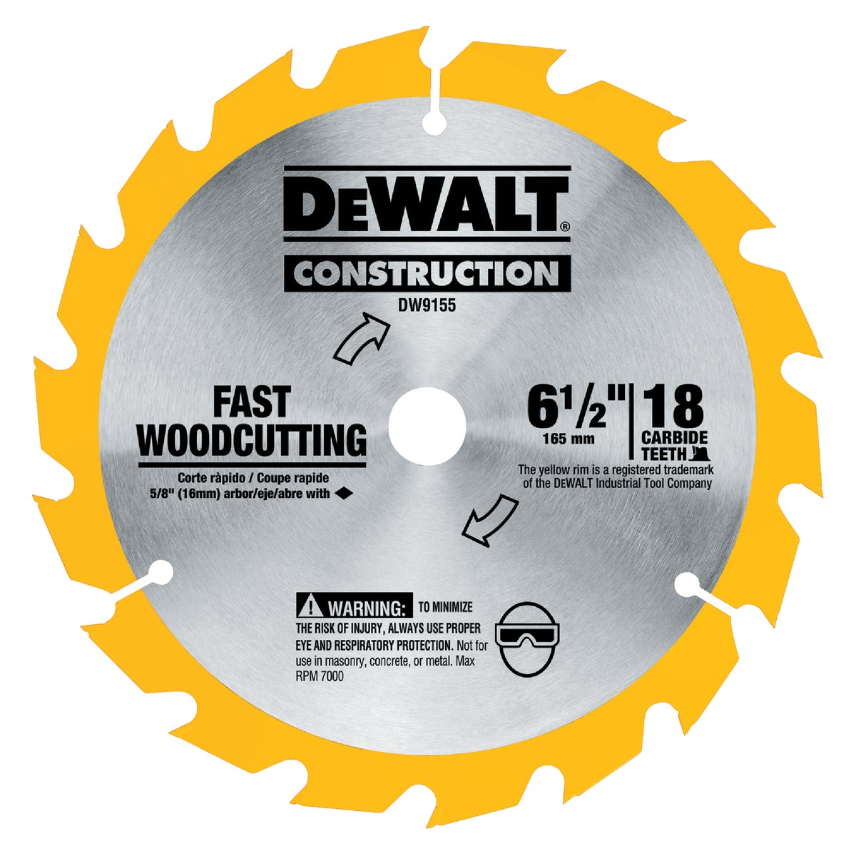 "6-1/2"" 16T CARBIDE BLADE - DW9155 by DeWalt"