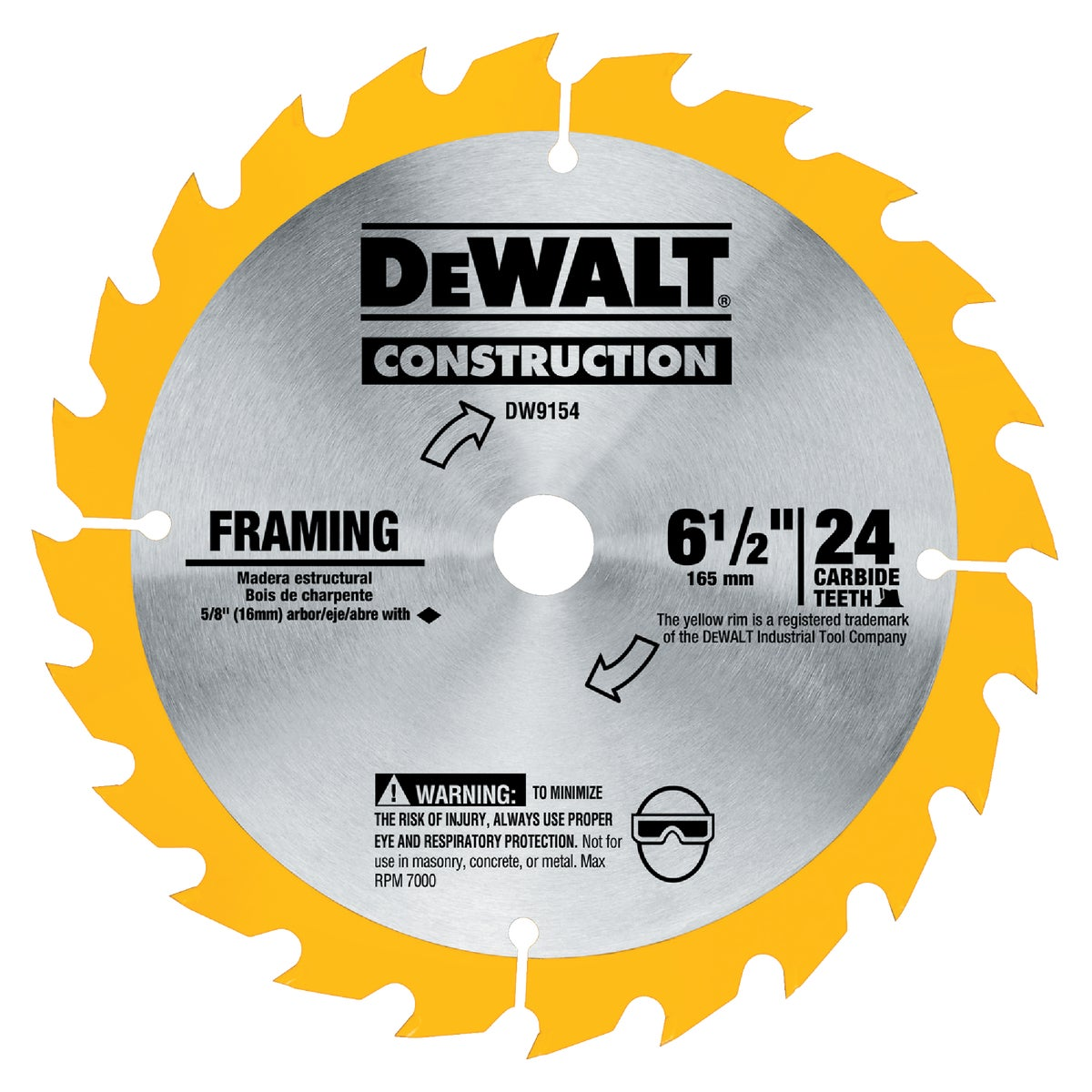 "6-1/2"" 24T CARBIDE BLADE - DW9154 by DeWalt"