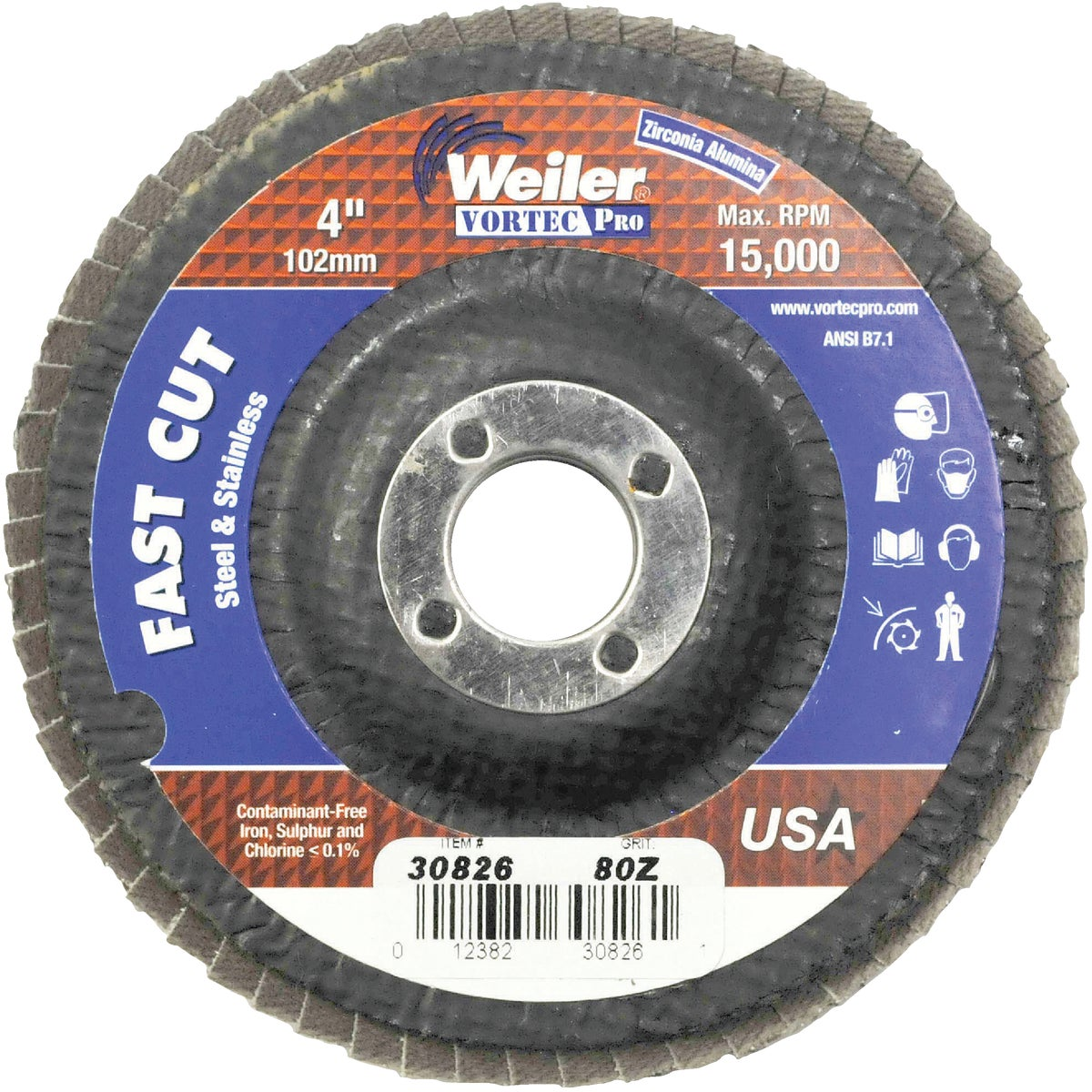 "4"" 80G FLAP DISC - 30826 by Weiler Corporation"