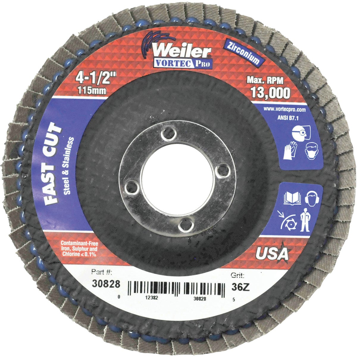"4-1/2"" 36G FLAP DISC - 30828 by Weiler Corporation"