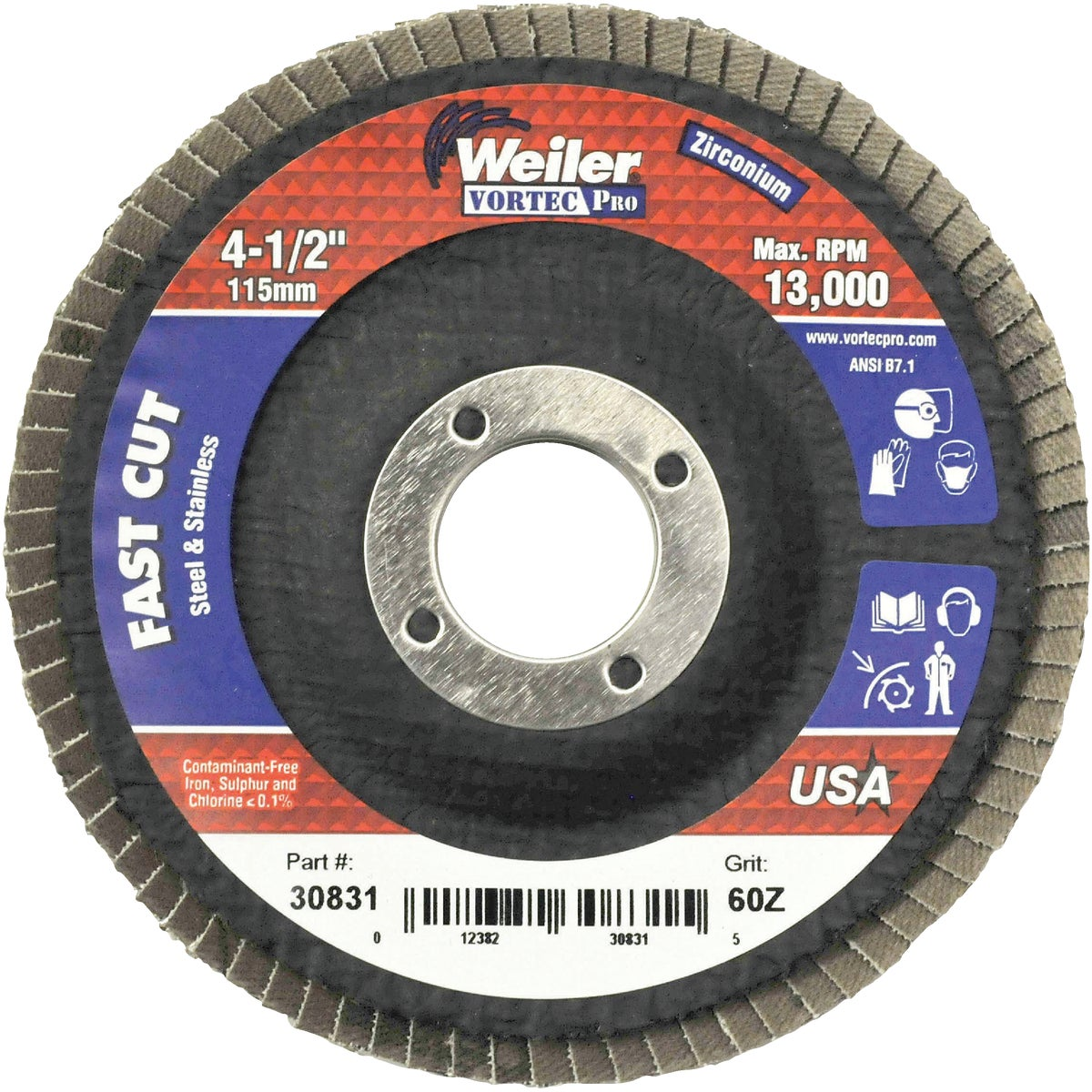 "4-1/2"" 60G FLAP DISC - 30831 by Weiler Corporation"