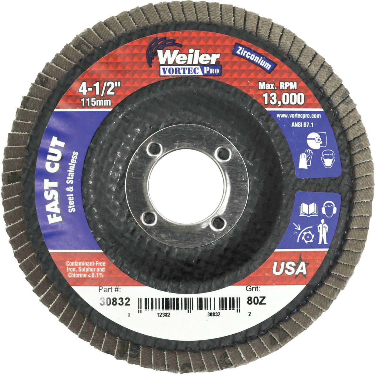 "4-1/2"" 80G FLAP DISC - 30832 by Weiler Corporation"