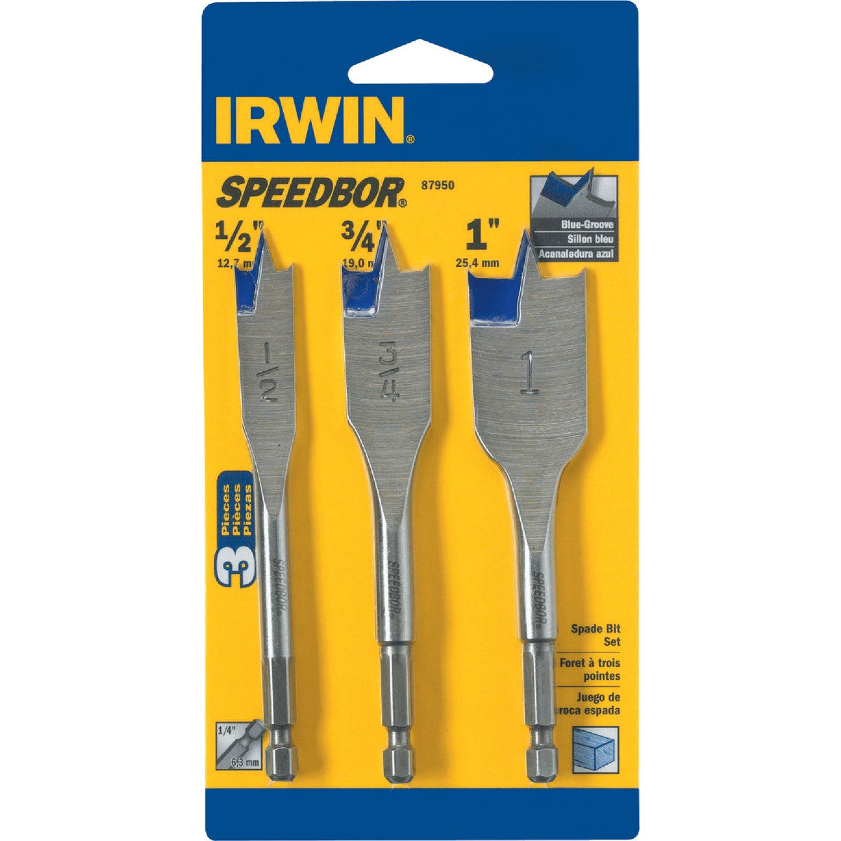 3PC SPADE BIT SET - 87950 by Irwin Industr Tool
