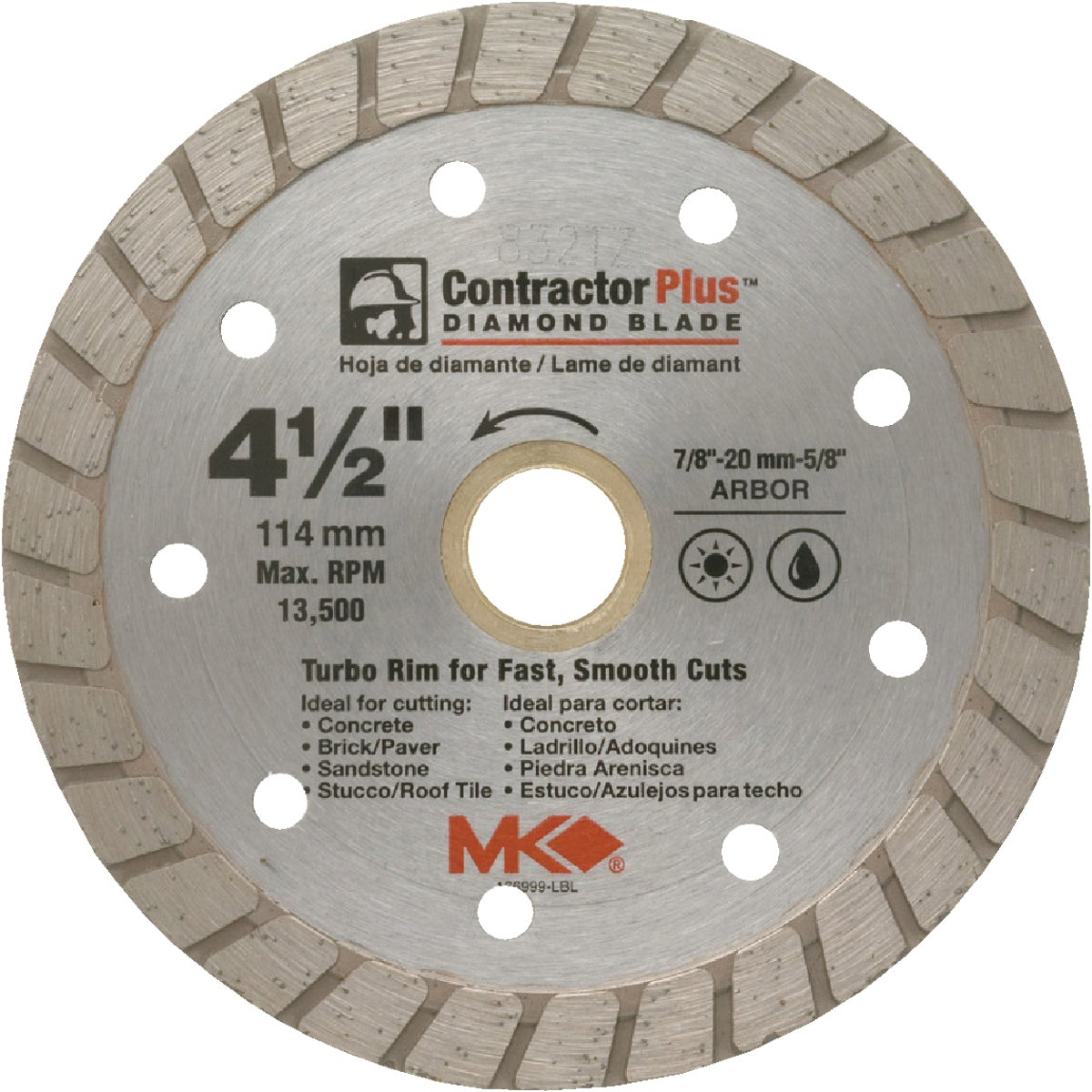 "4-1/2"" DIAMOND BLADE - 166999 by M K Diamond Products"