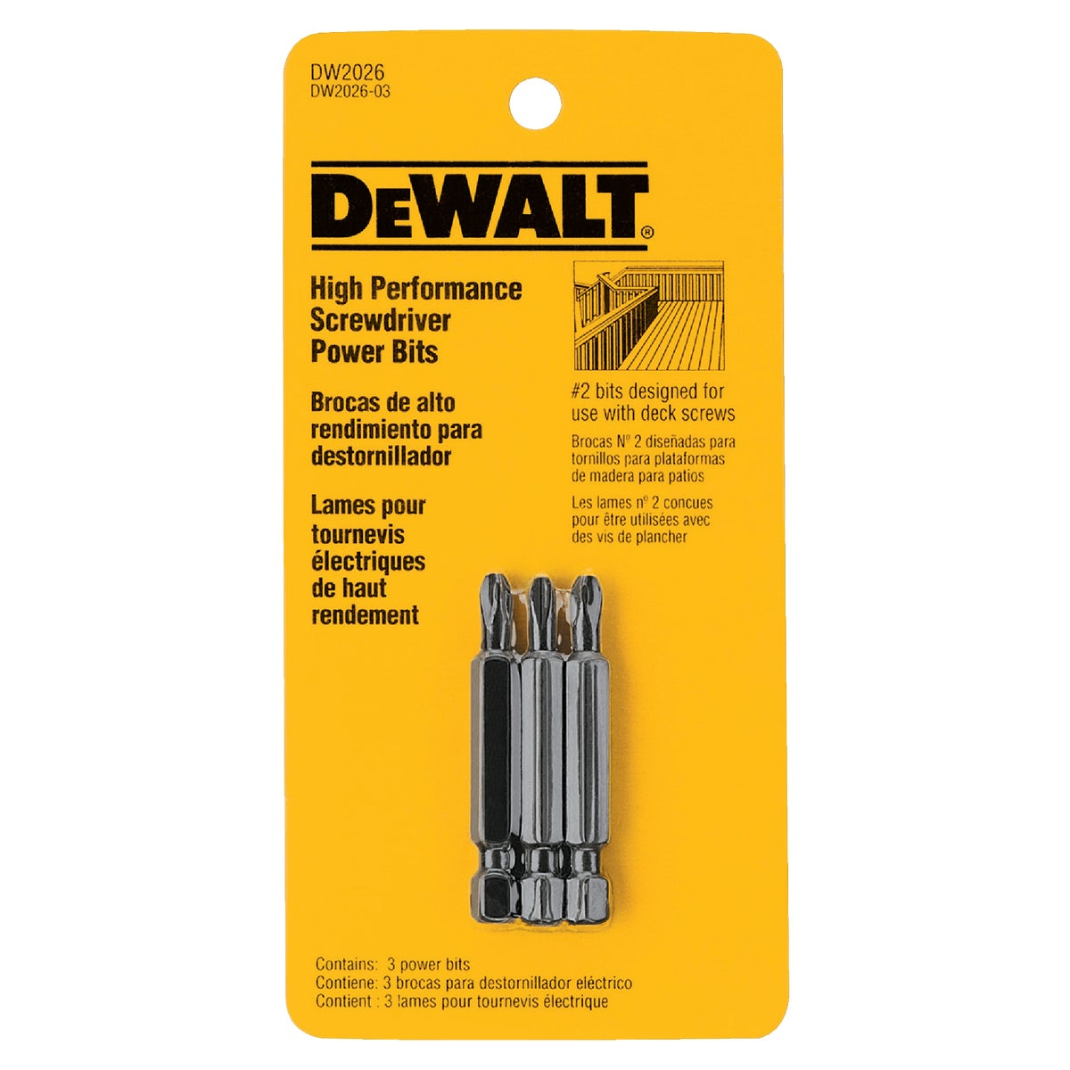 3PC #2 PHILLIPS BIT SET - DW2026 by DeWalt