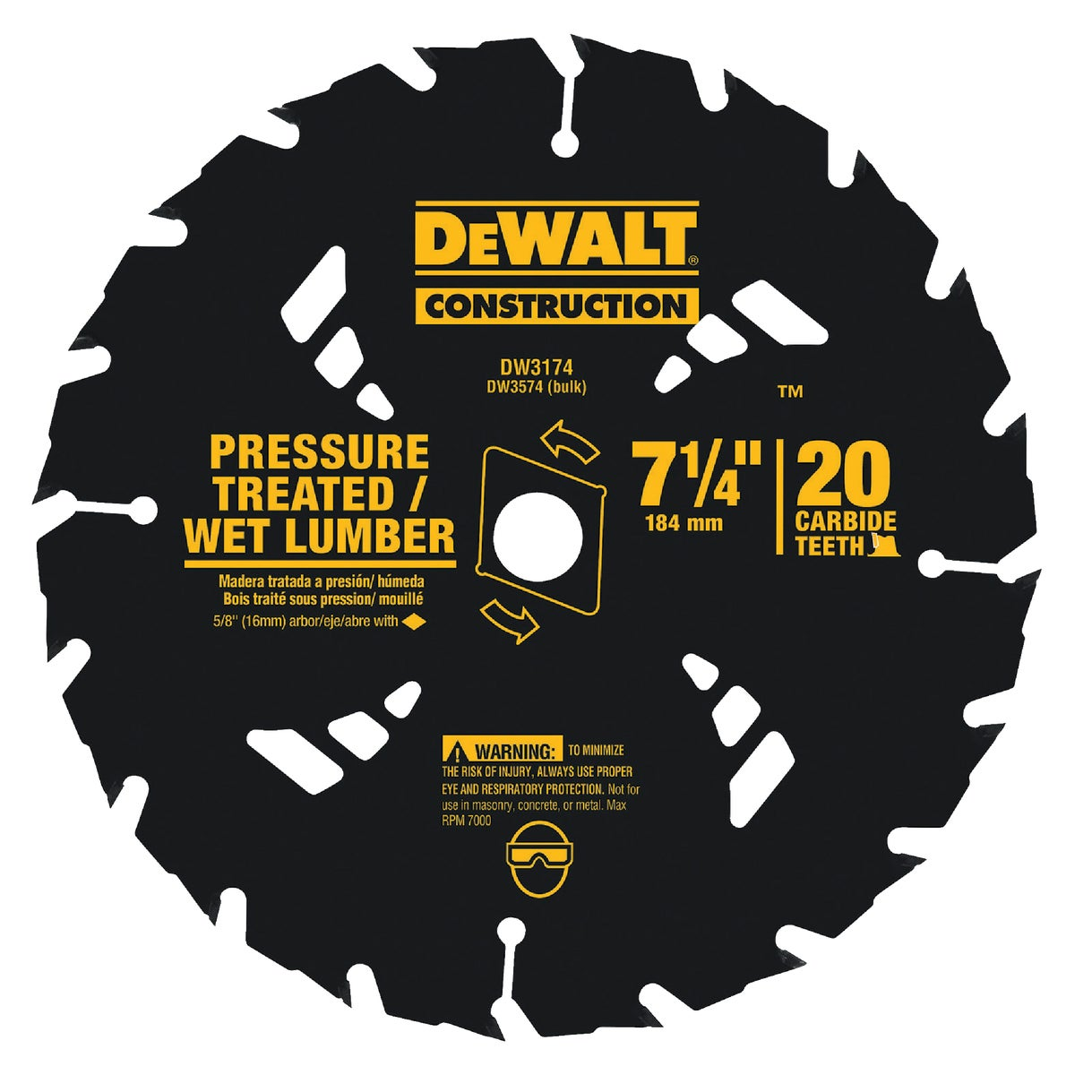 "7-1/4"" 20T CARBIDE BLADE - DW3174 by DeWalt"