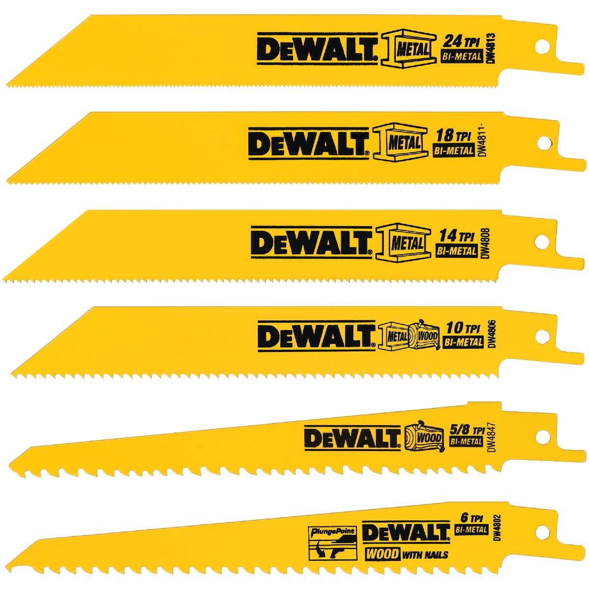 Black & Decker/DWLT 6PC RECIP BLADE SET DW4856