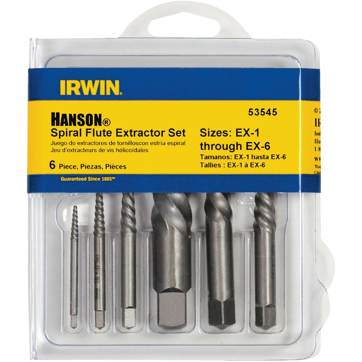 6PC SCREW EXTRACTOR SET - 53545 by Irwin Industr Tool