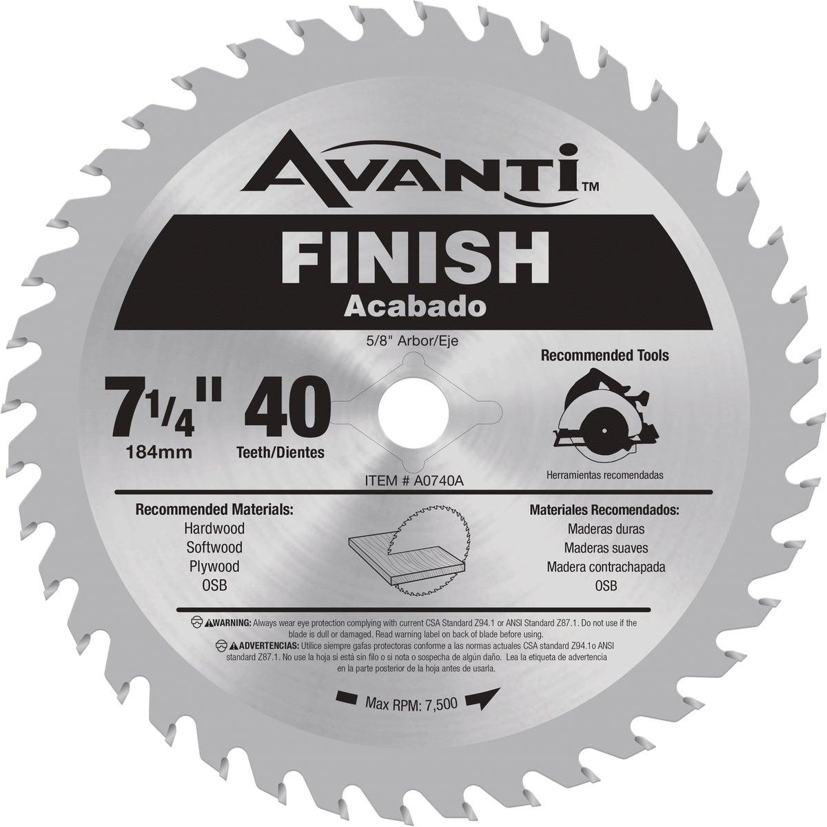 Avanti 7-1/4 In. 40-Tooth Finish Circular Saw Blade