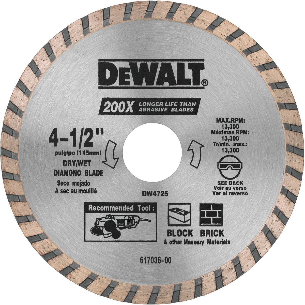 """4-1/2"""" MASONRY BLADE - DW4725 by DeWalt"""