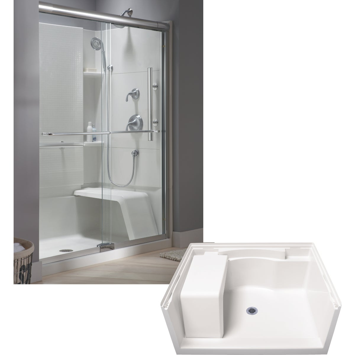 """48"""" SEATED SHOWER BASE - 72281100-0 by Sterling Pbg/vikrell"""
