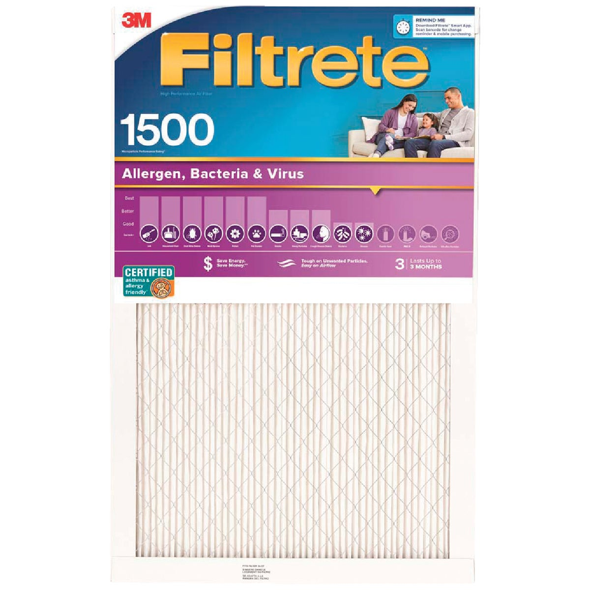 3M Filtrete 14 In. x 14 In. x 1 In. Ultra Allergen Healthy Living 1550 MPR Furnace Filter