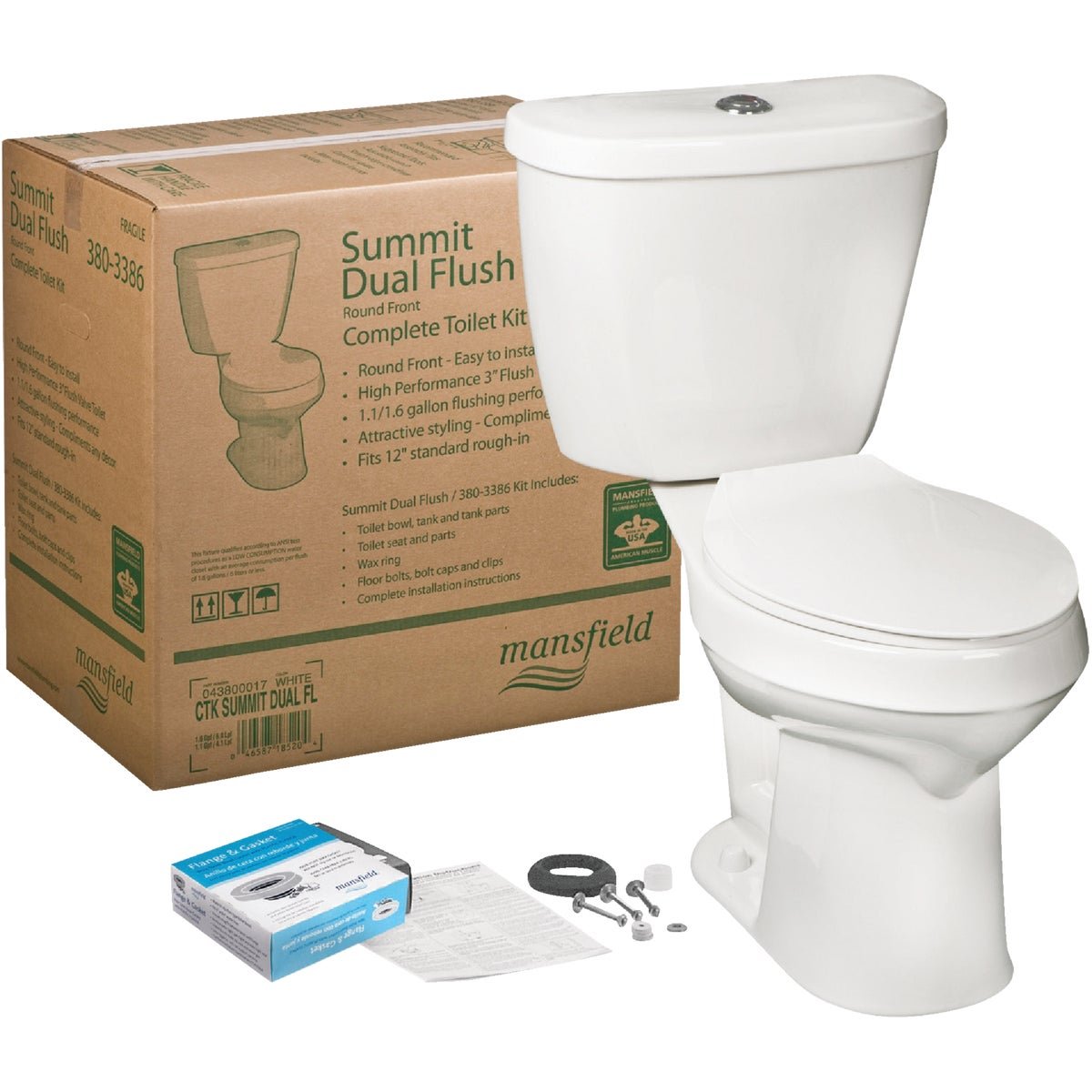 DUAL-FLUSH SUMMIT TOILET - 043800017 by Mansfield Plumbing