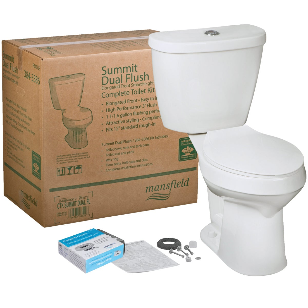DUAL-FLUSH SUMMIT TOILET - 043840017 by Mansfield Plumbing