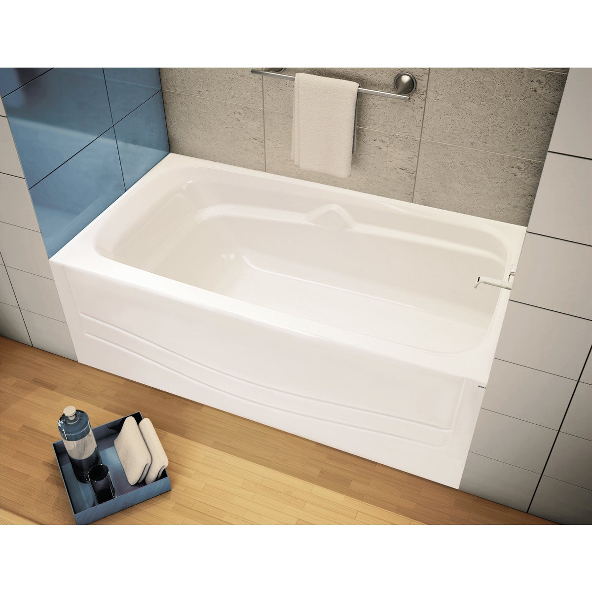 WHITE RH SOAKING TUB