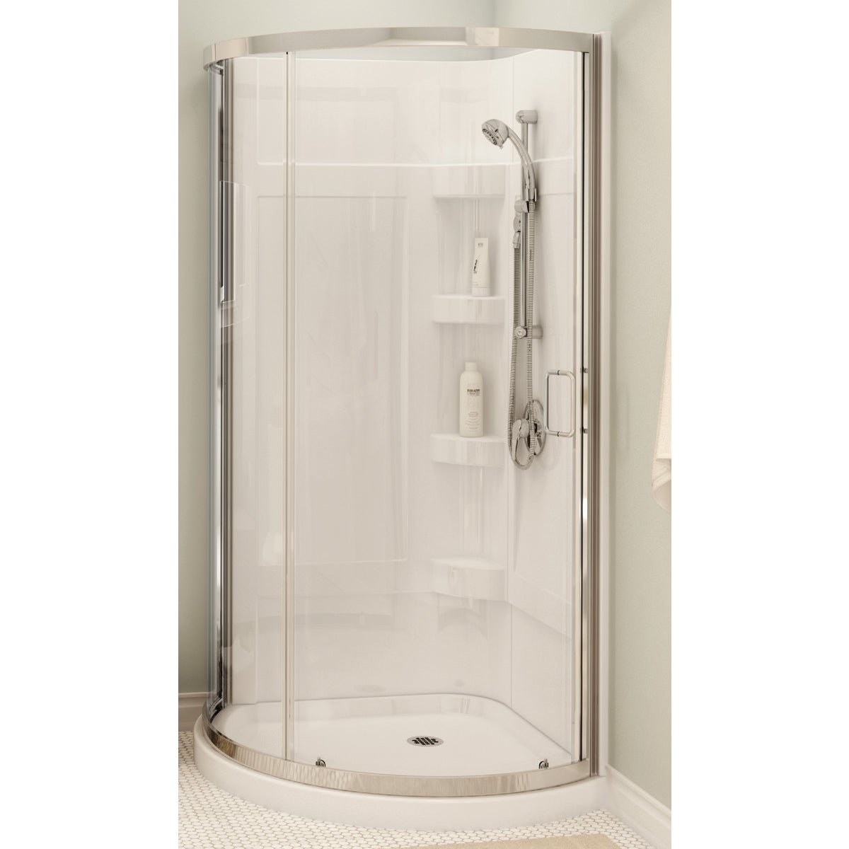 WHITE ROUND SHOWER