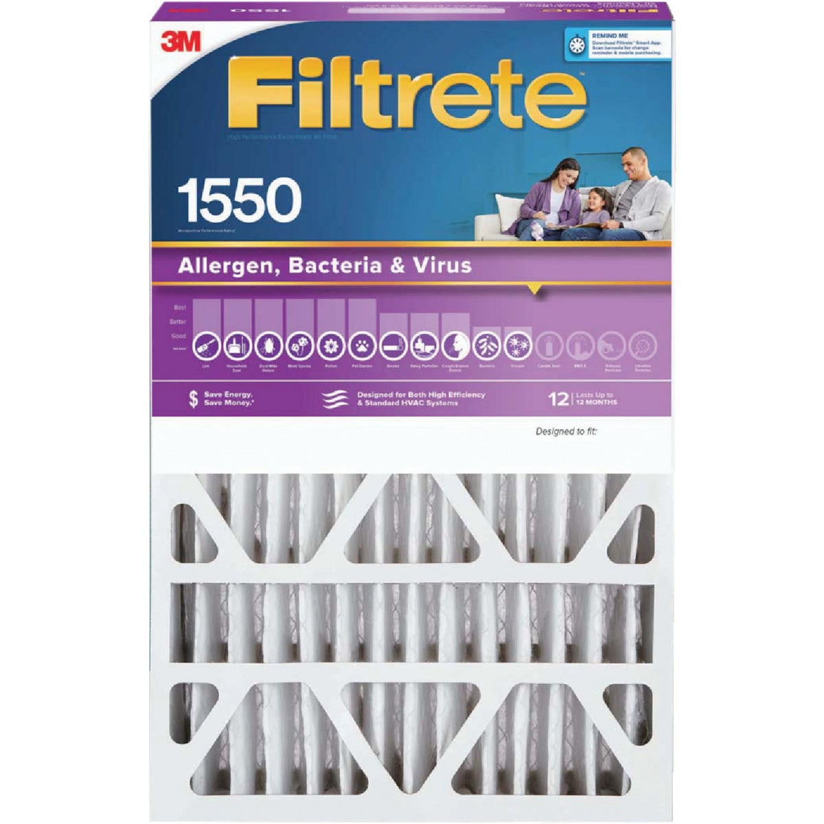 "3M Filtrete 20"" x 25"" x 4"" (Slim Fit) Allergen, Bacteria & Virus 1550 MPR Deep Pleat Furnace Filter"
