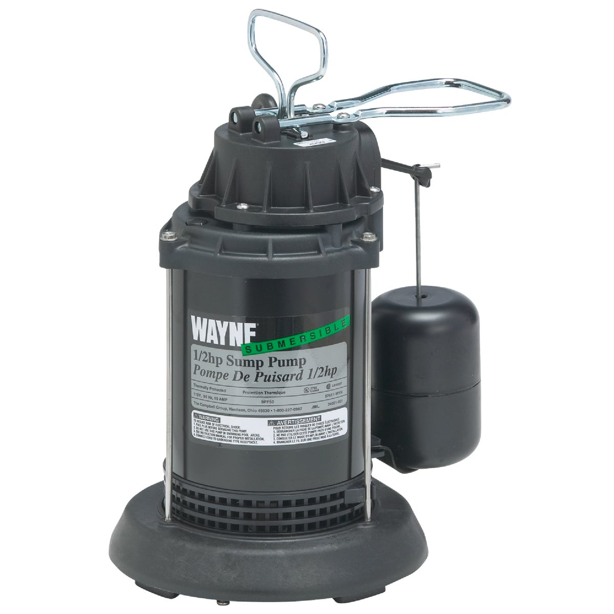 1/2HP PLASTIC SUMP PUMP - SPF50 by Wayne Water Systems