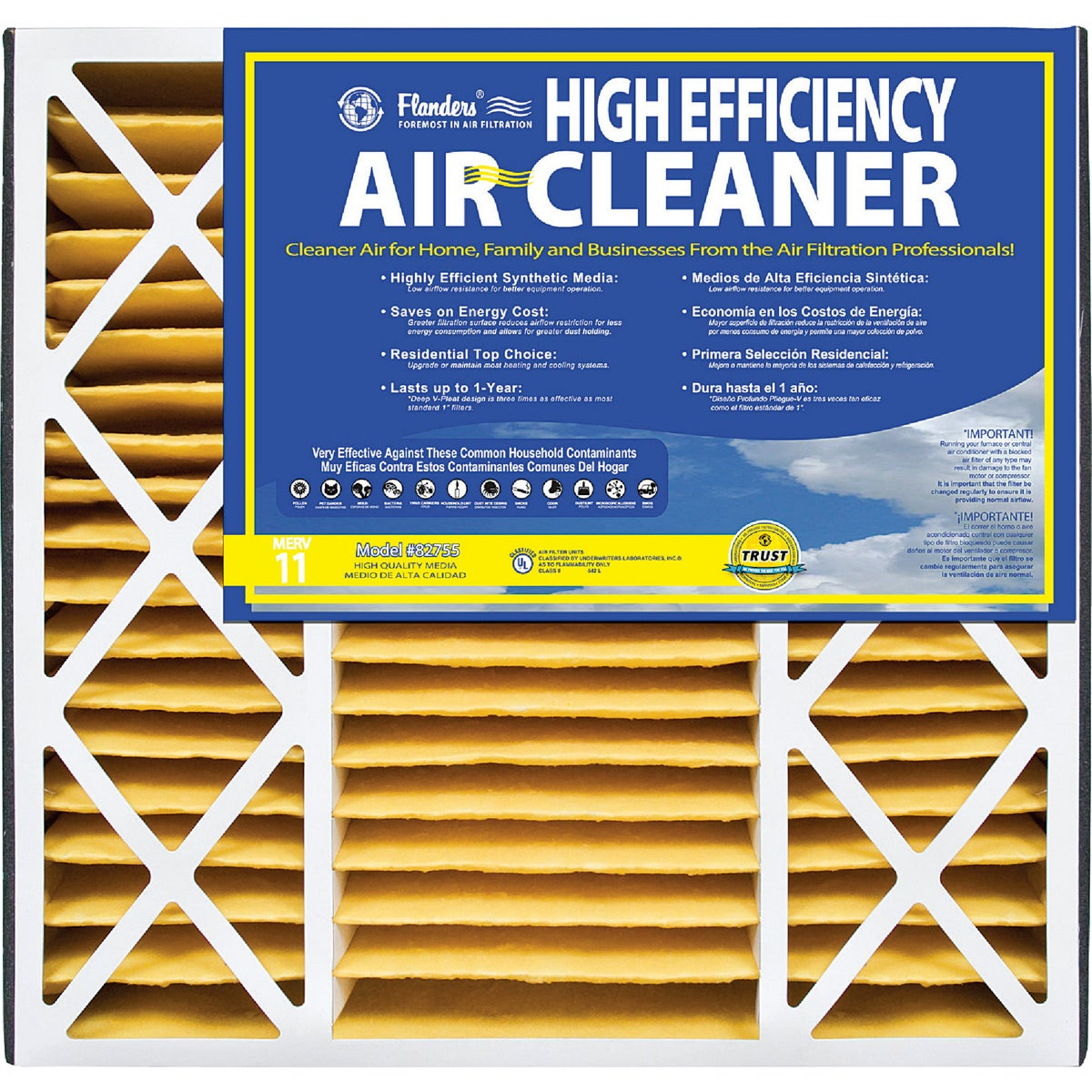 16X25X3 PLTD AIR FILTER - 82755.031625 by Flanders Corp