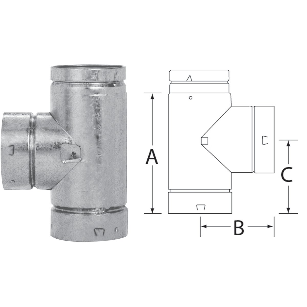 """4"""" B-VENT GAS PIPE TEE"""