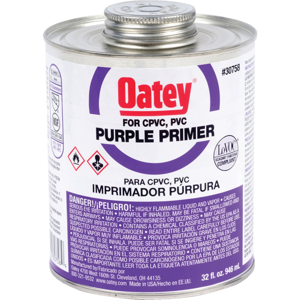 QUART PURPLE PRIMER - 30758 by Oatey Scs