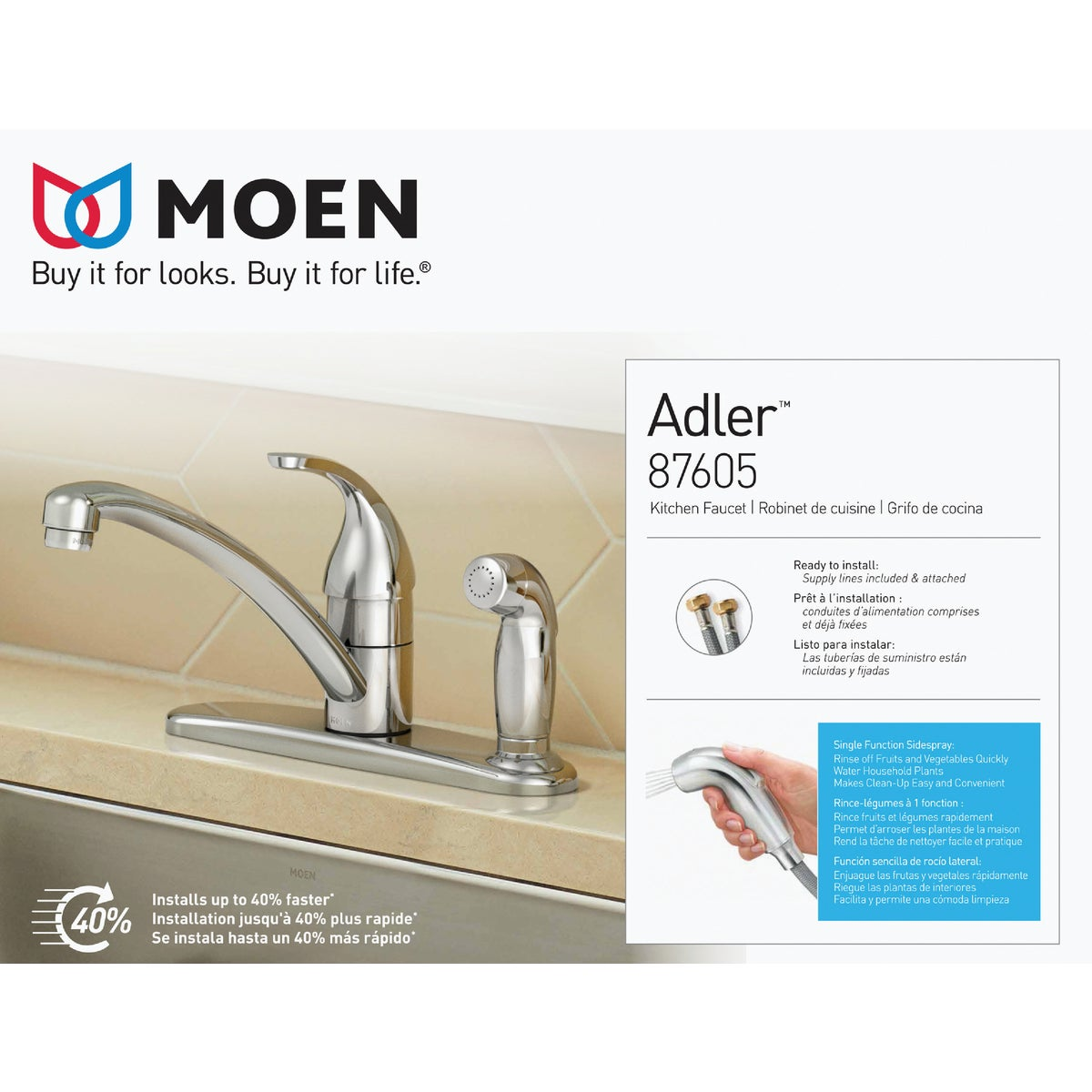 1H CHR KIT W/WHT SPRY - CA87554C by Moen Inc