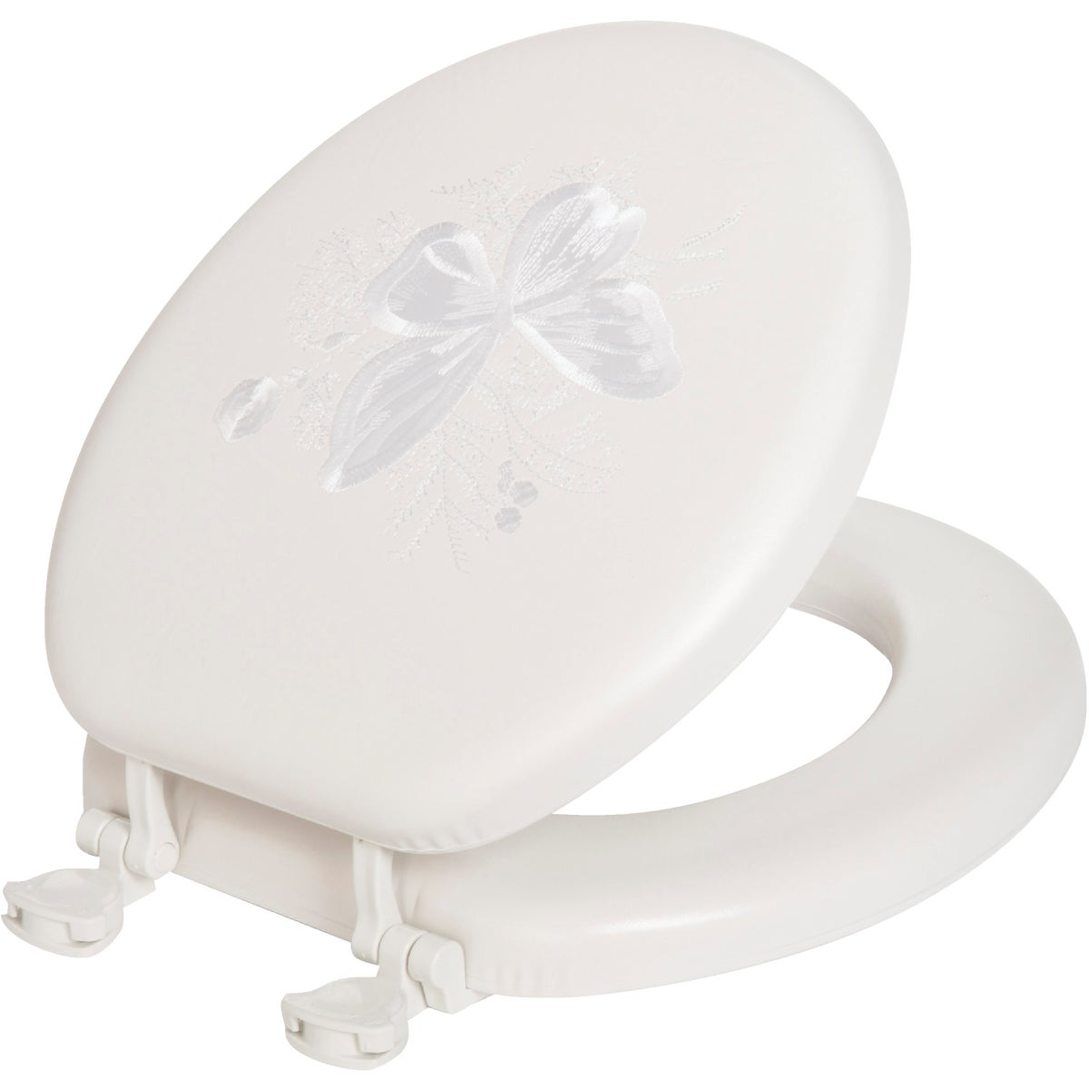 WHITE EMB BUTTERFLY SEAT