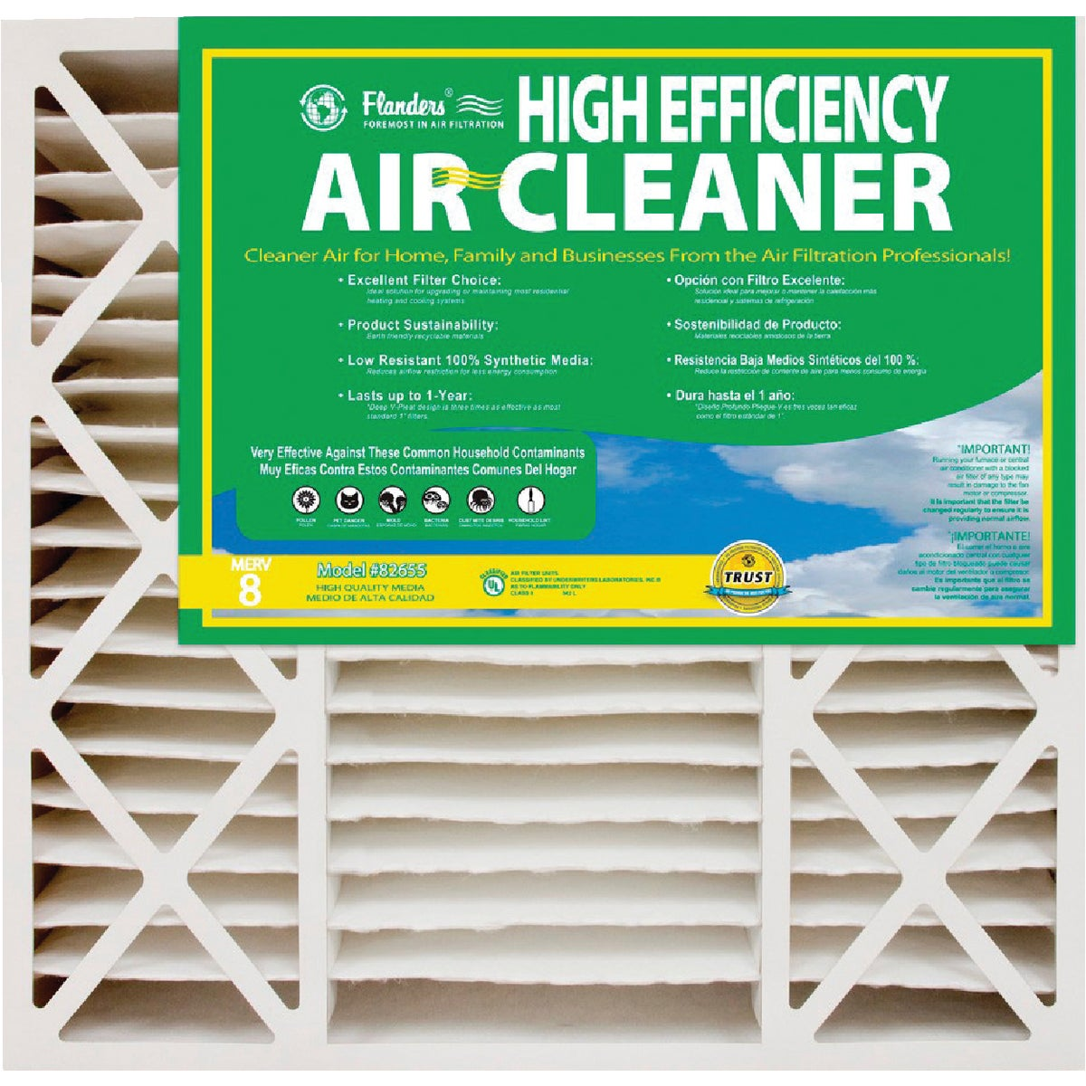 Flanders/Precisionaire 16X25X5 FURNACE FILTER 82655.0451625
