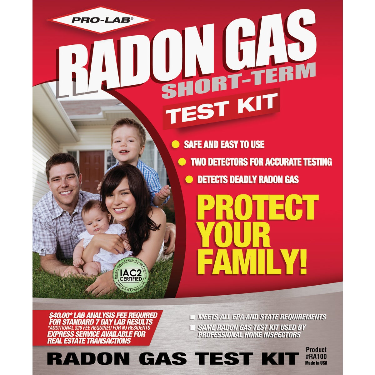 RADON GAS TEST KIT - RA100 by Pro Lab Inc