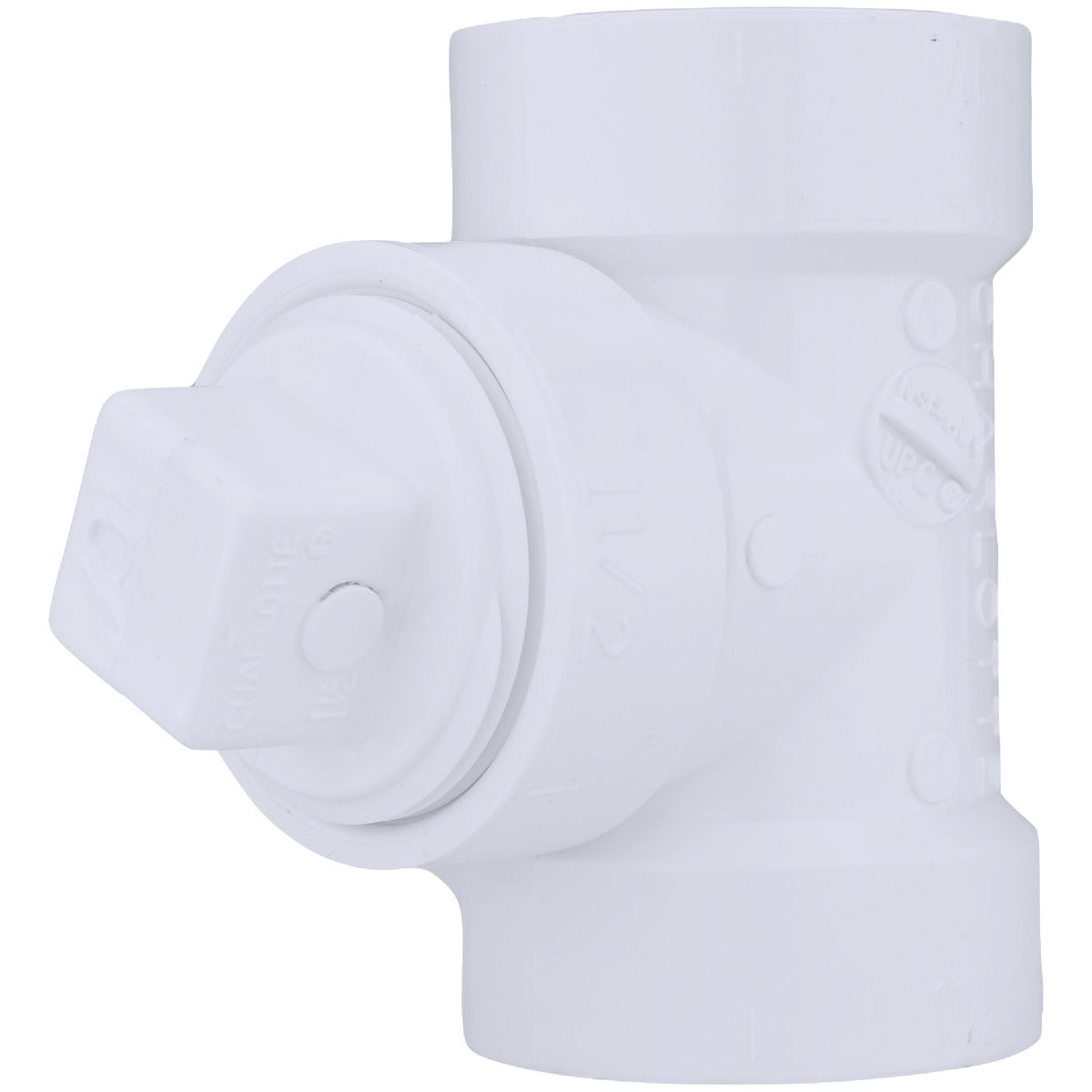 "1-1/2"" TEST TEE W/PLUG - 71315 by Genova Inc  Pvc Dwv"