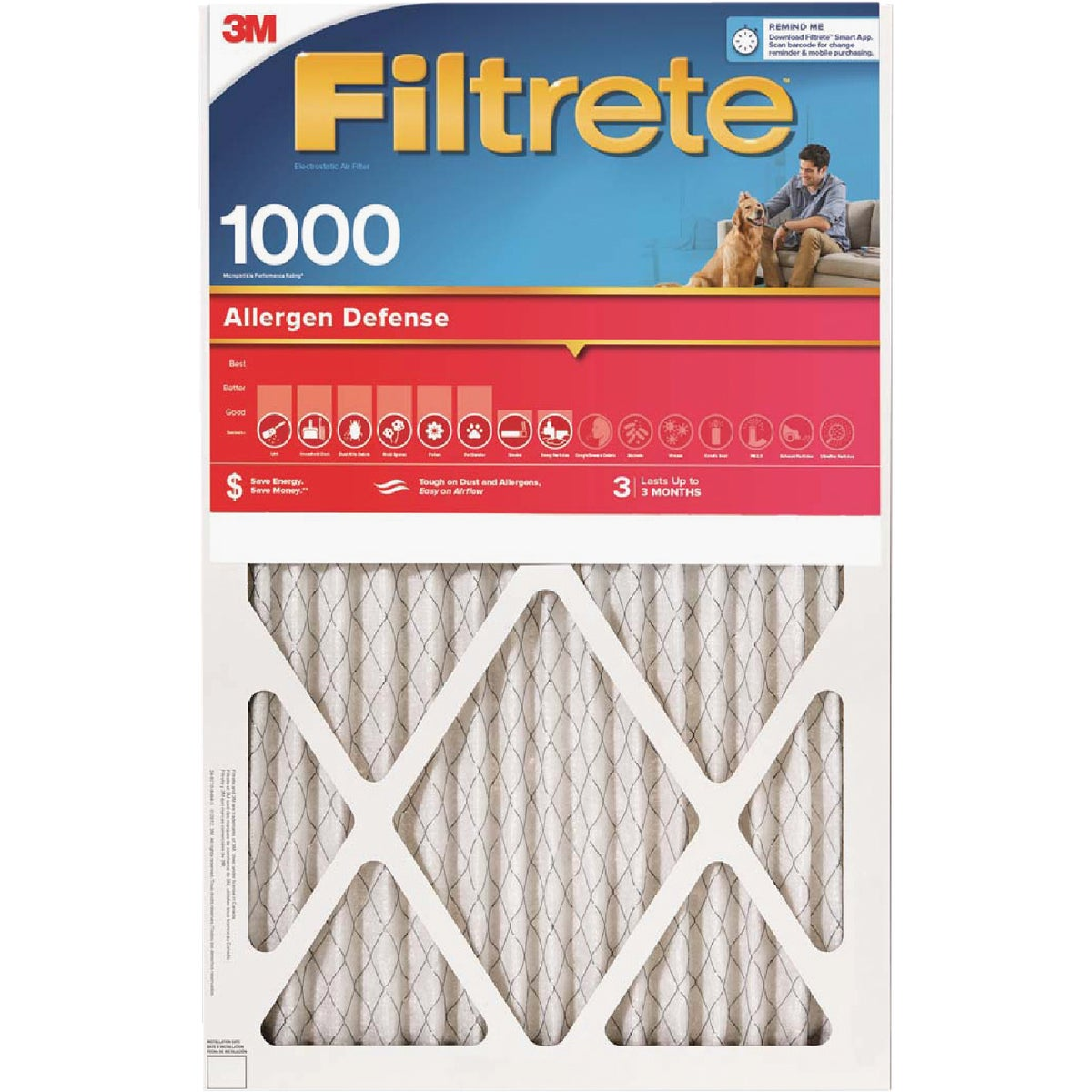16X24X1 ALLERGEN FILTER - 9825DC-6 by 3m Co