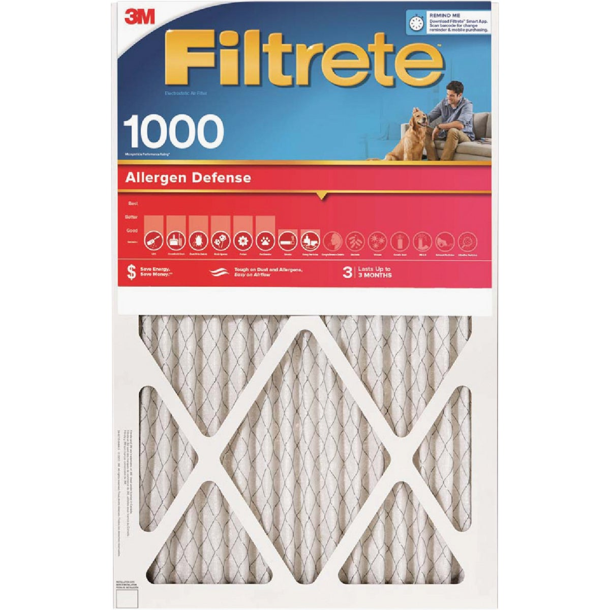 3M Filtrete 12 In. x 20 In. x 1 In. Allergen Defense 1000/1085 MPR Furnace Filter