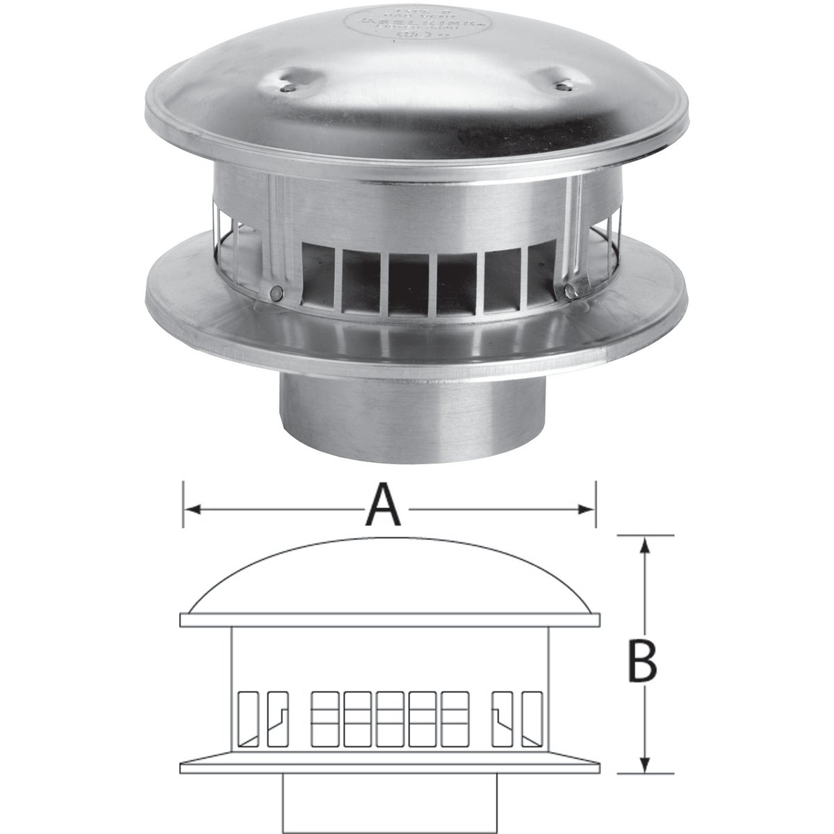 """5"""" GAS VENT TOP"""