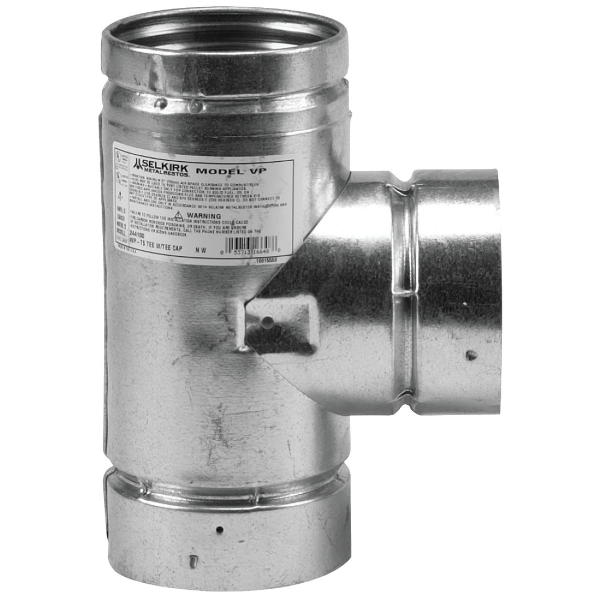 "3"" GALV PELLET E/CAP TEE - 3VP-TS by Selkirk Corporation"
