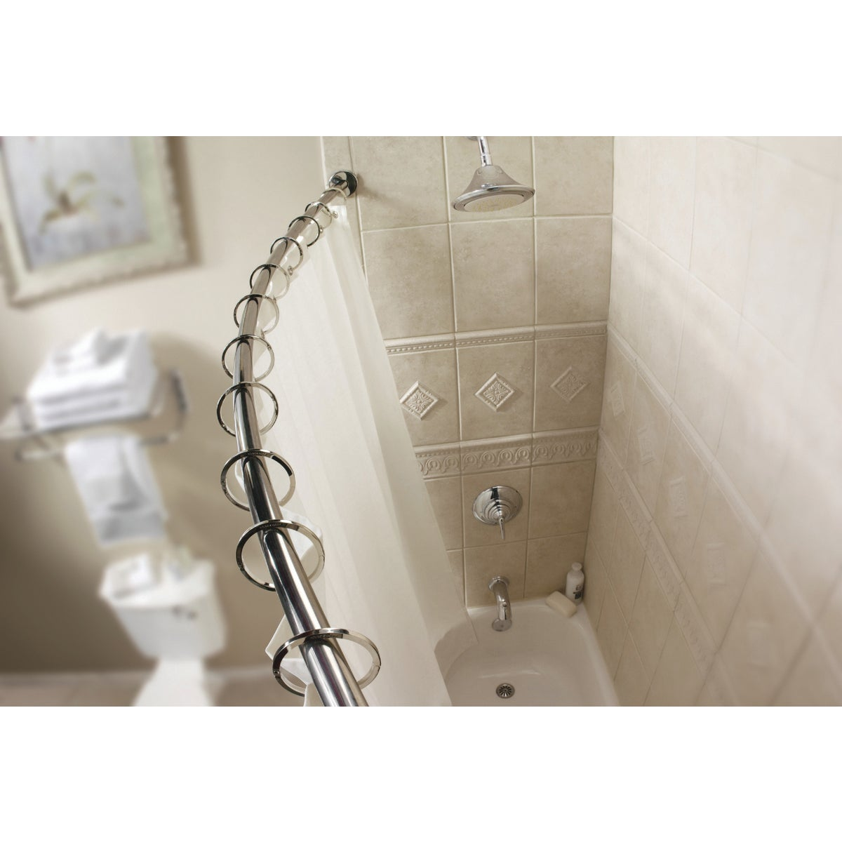 NICKEL CURVE SHOWER ROD
