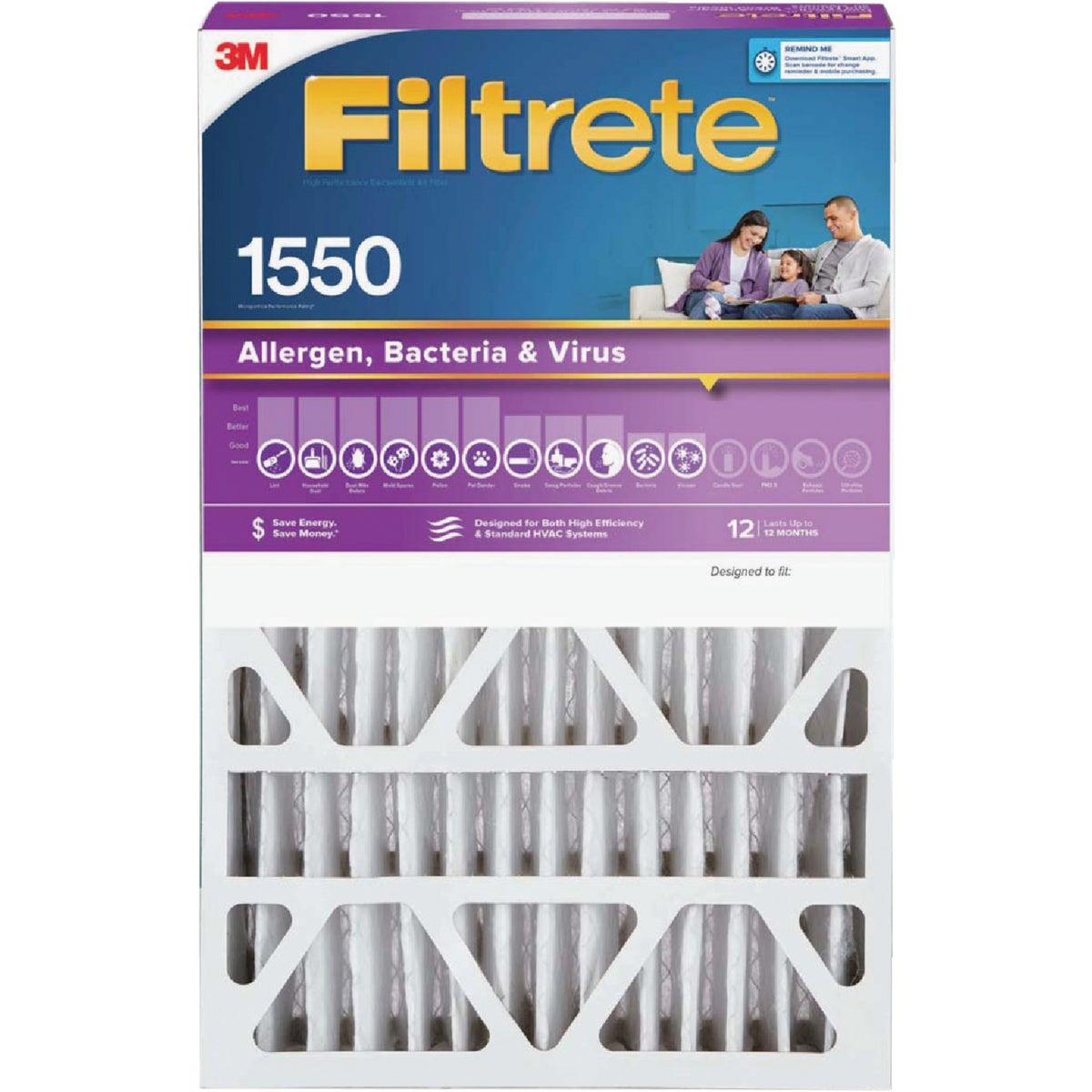 3M Filtrete 20 In. x 25 In. x 4 In. Allergen, Bacteria & Virus 1550 MPR Deep Pleat Furnace Filter