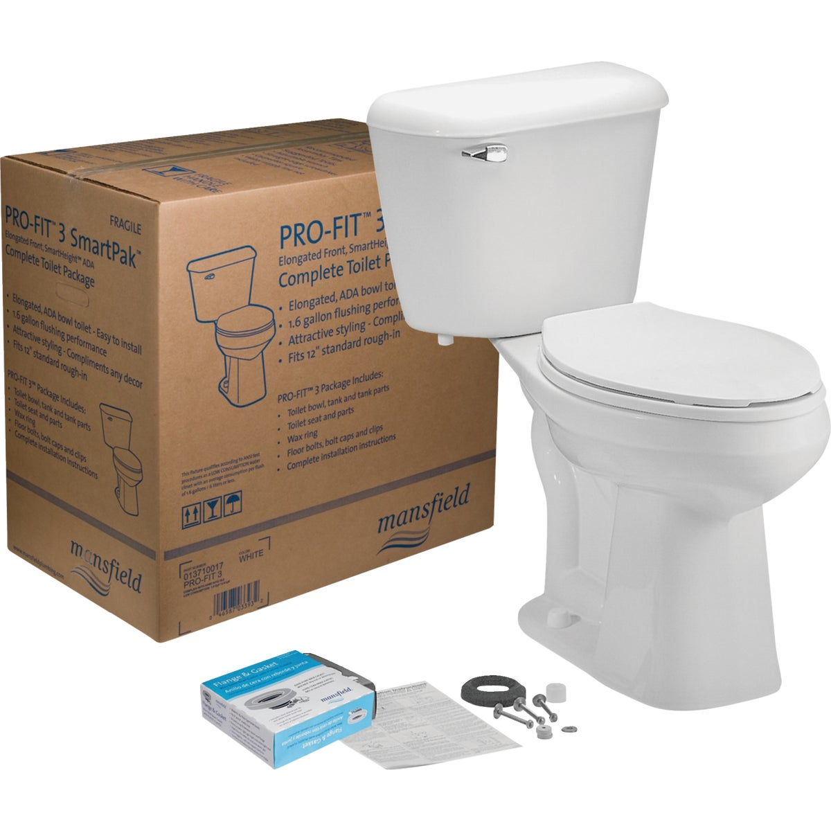 WHITE PRO-FIT 3 TOILET - 013710017 by Mansfield Plumbing