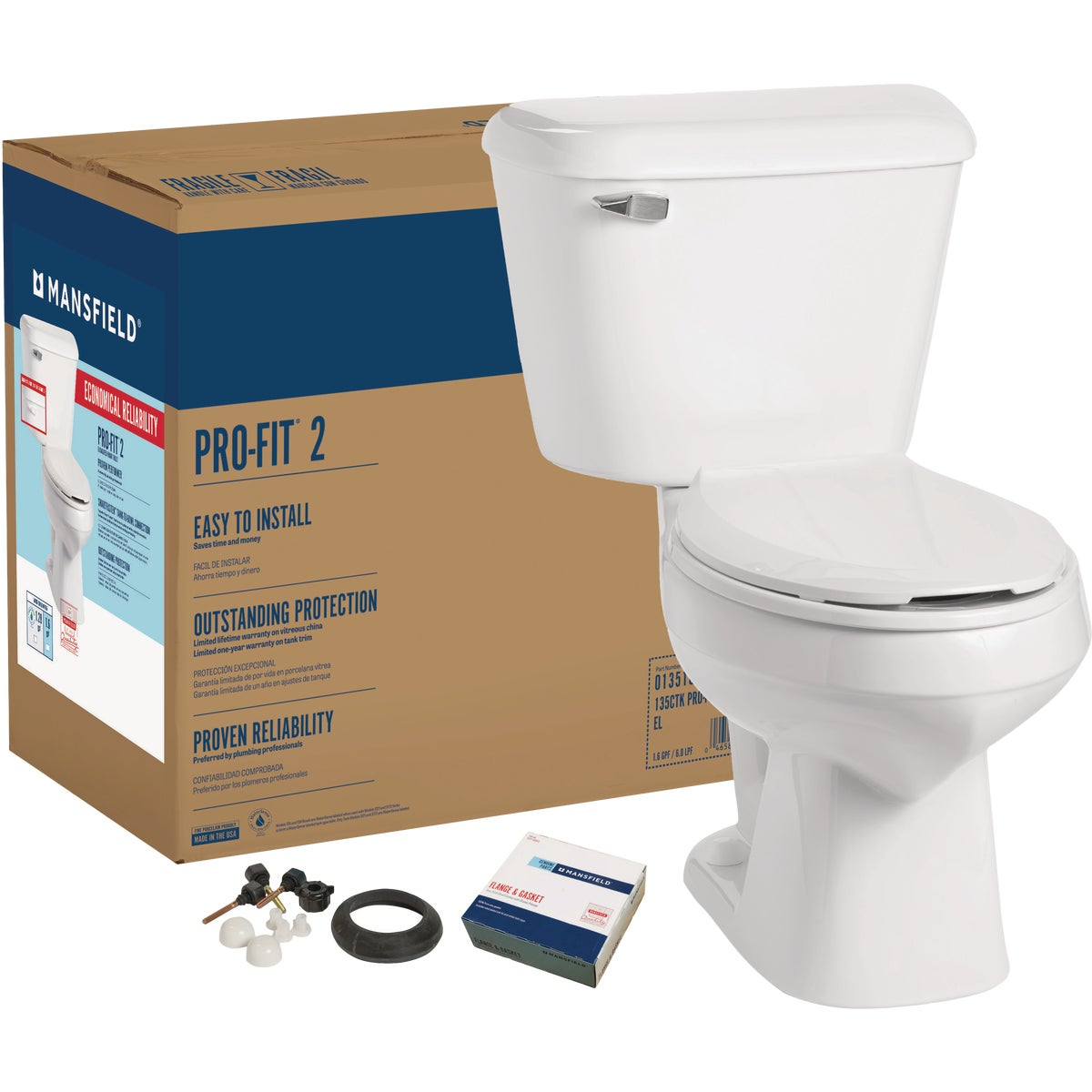 WHITE ELONGATED TOILET - 013510017 by Mansfield Plumbing