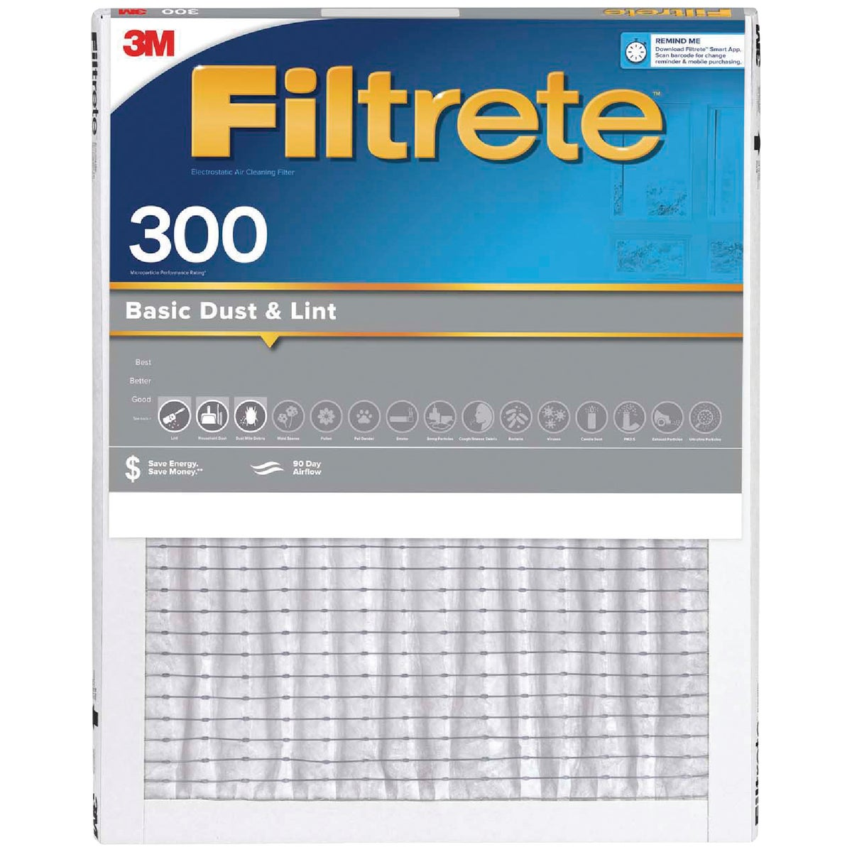 3M Filtrete 20 In. x 20 In. x 1 In. Dust Reduction 300 MPR Furnace Filter