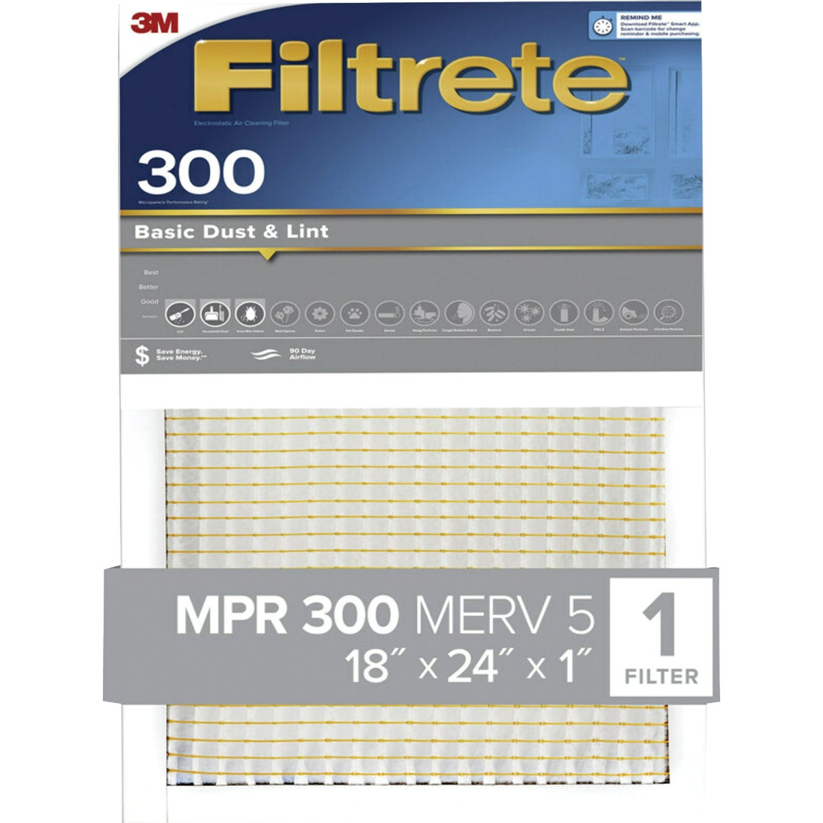 3M Filtrete 20 In. x 25 In. x 1 In. Dust Reduction 300 MPR Furnace Filter
