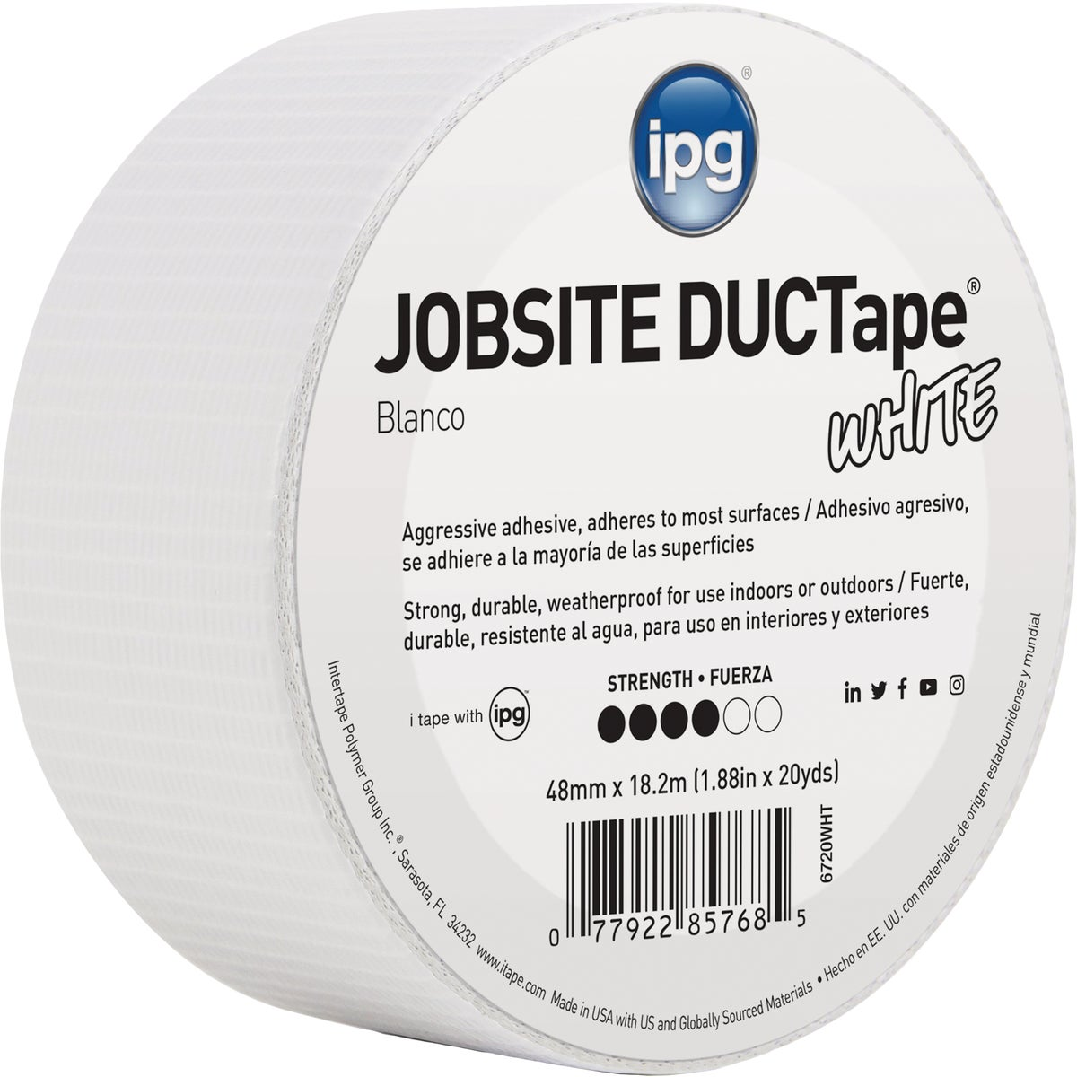 20YDS DUCT TAPE WHITE - 6720WHT by Intertape Polymer