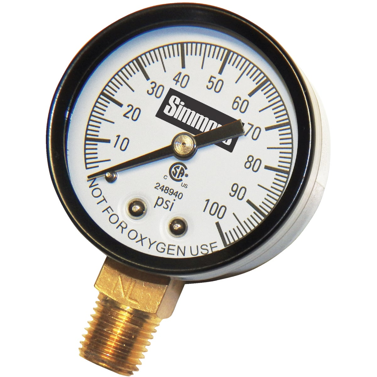 "100PSI 1/4""PRESURE GAUGE - 1305 by Simmons Mfg Co"