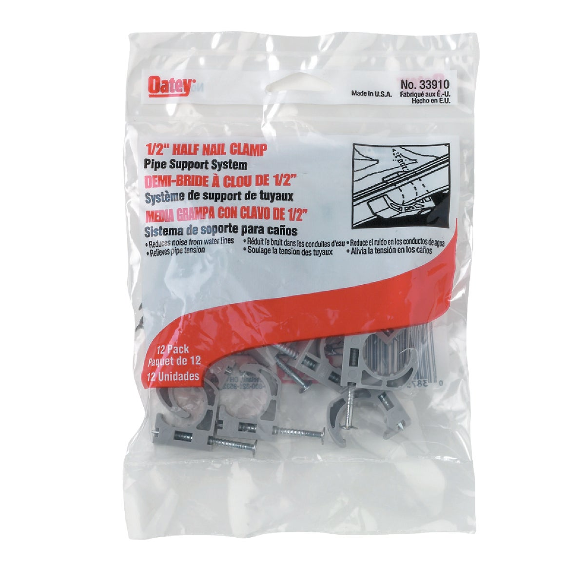 """1/2"""" HALF CLAMP - 33910 by Oatey Scs"""