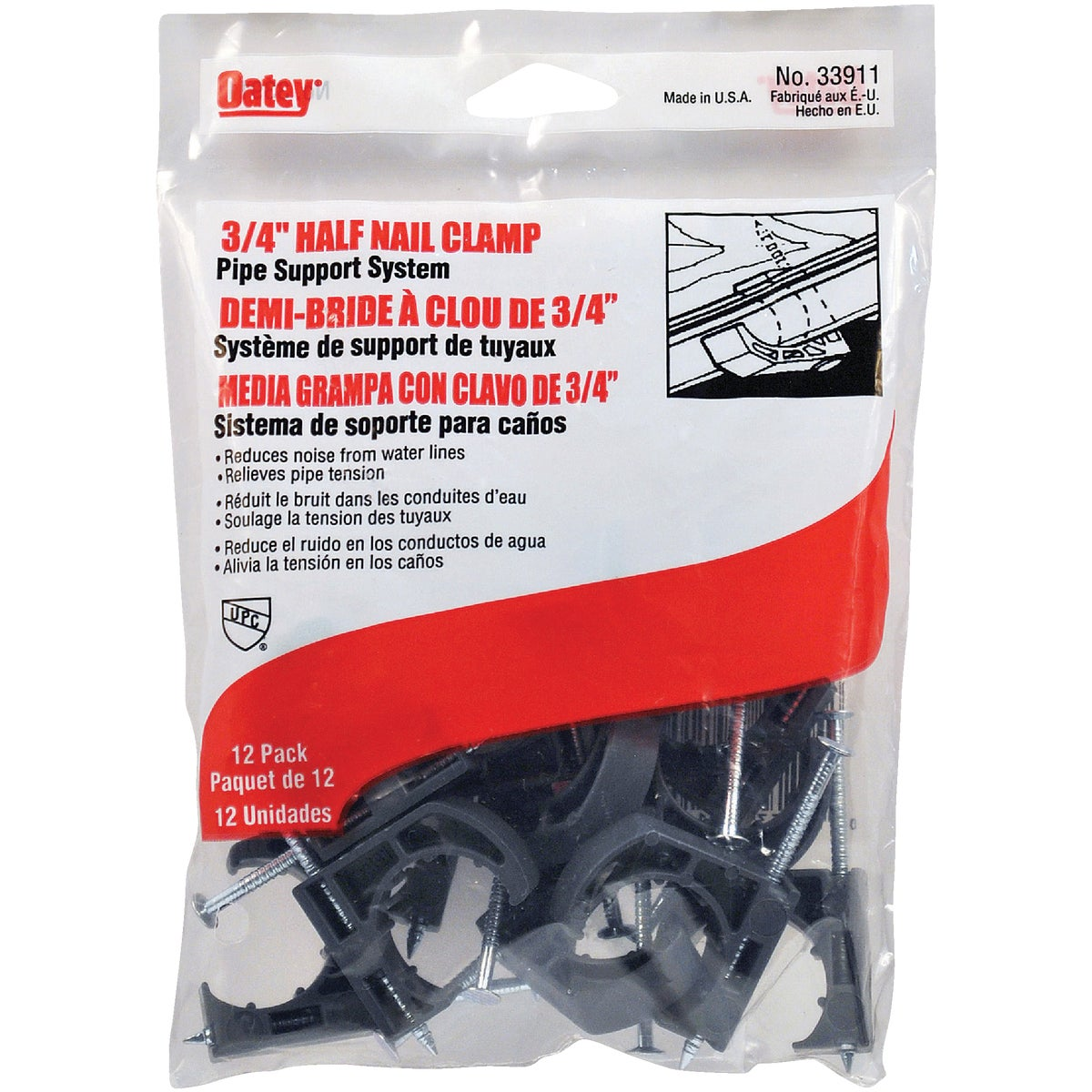 "3/4"" HALF CLAMP - 33911 by Oatey Scs"