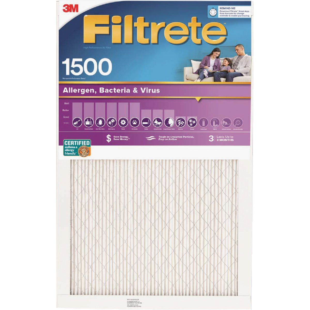 3M Filtrete 20 In. x 20 In. x 1 In. Ultra Allergen Healthy Living 1550 MPR Furnace Filter